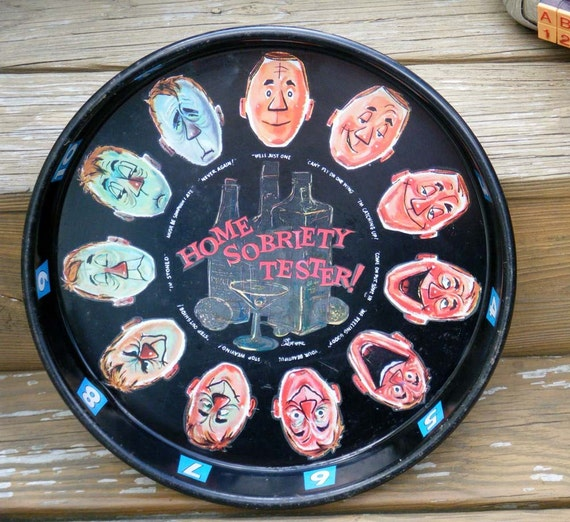 Home Sobriety Tester 1960s Metal Barware Tray with great graphics by NY artist Joe Carpenter