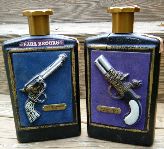 Vintage Set of 1960s Ezra Brooks Gun Decanters Flintlock Derringer and Colt Peacemaker Pistol