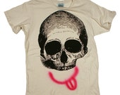 LOYALTY AND BLOOD - Unisex Skull tee on Destroyed Antique White Crewneck