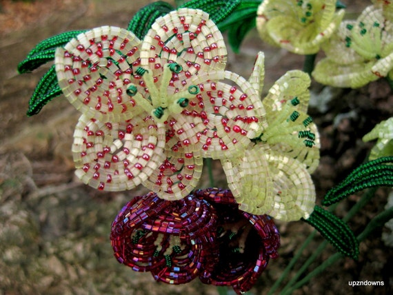Helleborus Orientalis Bead Flowers,  French beaded flowers, 8 loose stems