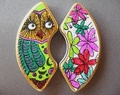 Refrigerator Magnets - Owl and Flowers