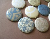 Elegant Fridge Magnets / 12 total 1 inch / fits Magnabilities / cream blue neutral