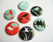 Seven bird magnets for your fridge / bird silhouettes / red, teal blue, black, white 1110