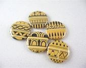 Vase Ornaments / 5 Fridge Magnets / Greek and Etruscan Vases / OOAK - Yellow Black