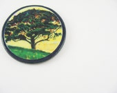 Impressionist Tree No 3 / Fridge Magnet / Recycled Vintage Blue Poker Chip / Wood