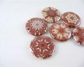 6 Fridge Magnets, Magnet Set, Cute Fridge Magnets, Refrigerator Magnets, pinback buttons / kaleidoscope mandala / 6 one inch magnets / 1229