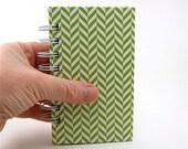 Mini Recipe Notebook 3 x 5 index cards / recipe book / spiral bound /  green chevron