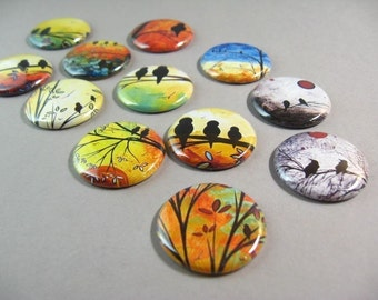 Silhouette Bird Fridge Magnet Set, 12 fridge magnets, sunrise sunset, bird magnets, cute fridge magnets, wine charms, pin back buttons 1186