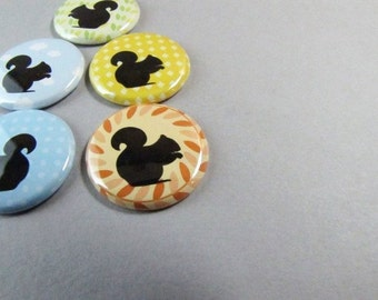 Fridge Magnets - 5 one inch magnets - Squirrels and Silhouettes - Home and Living, Kitchen, Storage and Organization 1164