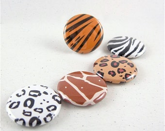 Animal Prints Fridge Magnet Set, Pinback Buttons, Wine Charms, Wildlife Decor - zebra tiger giraffe leopard  1118