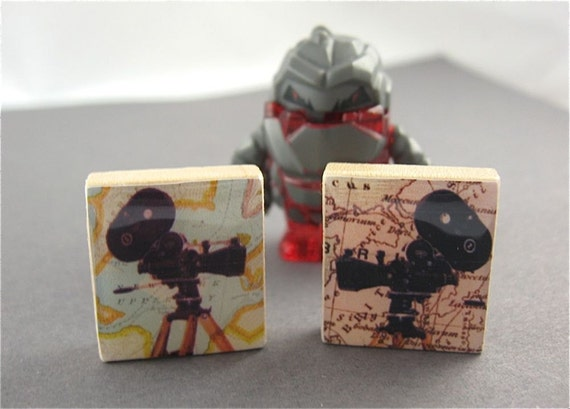 Camera Map Cuff Links / Cufflinks - Lights Camera Action on Scrabble Tiles