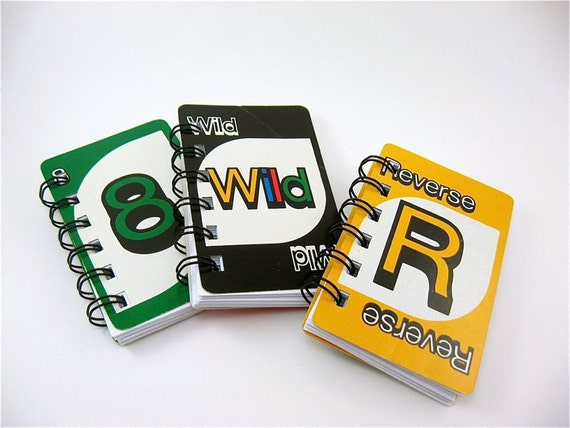 3 UNO Notebooks Recycled Vintage UNO cards