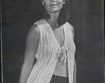 Vintage Knit Lace Vest Pattern - PDF