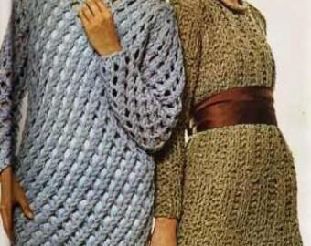Filigree Satin Trimmed Knit Dress Pattern (on right) - PDF