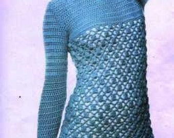 Textured Openwork Crochet Dress Pattern - PDF