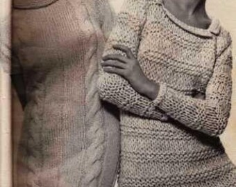 Knit Cable Dress Pattern (on left- PDF