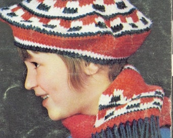 Crocheted Beret and Scarft Pattern in Red White and Blue