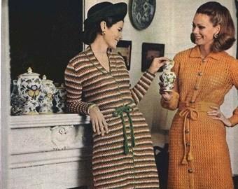 FOUR COLOR DRESS (on Left) - Knit Coatdress pattern