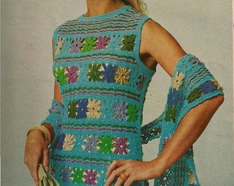 FLOWER DUET Dress and Scarf pattern (MS70)