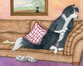 Border Collie dog television 8x10 art print