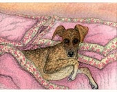 Greyhound whippet dog 8x10 art print - your bed ...