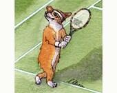 Welsh Corgi dog playing tennis 8x10 print - Wimbledon