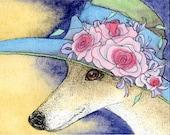 Whippet Greyhound dog dreams of summer hat art print