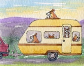 Welsh Corgi dog pup 8 x 10 print - caravan holiday