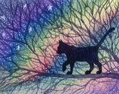 Cat ACEO art print - starry night