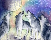 Siberian Husky Sibe dog art ACEO signed print - singing