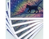 6 x cat greeting cards - Starry night