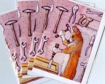4 x Welsh Corgi dog greeting cards - carpenter, woodwork