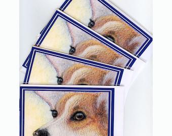 4 x Welsh Corgi dog greeting cards - Missing You