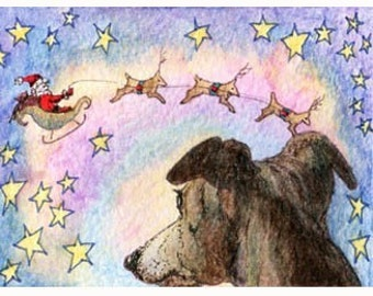whippet greyhound Christmas sleigh signed ACEO print
