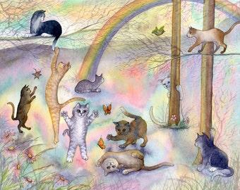 Rainbow Bridge - kitties - signed ACEO art print