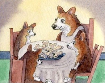 Pembroke Welsh Corgi dog pup 8x10 print table manners humor watercolor