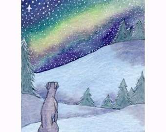 Greyhound Whippet dog 8x10 print silent night snowy landscape