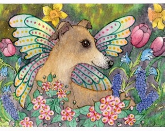 Whippet Greyhound dog pup fairy fantasy signed art print