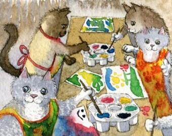 Cat kitten nursery school 8x10 print by Susan Alison
