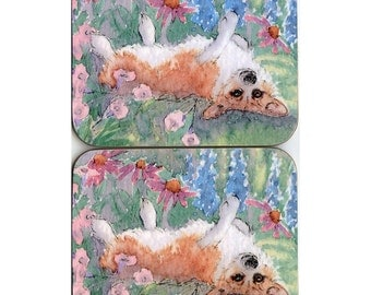 2 x Welsh Corgi dog coasters - rolling in the garden flowers herbaceous border delphiniums from a Susan Alison watercolor painting