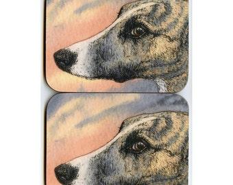 2 x brindle whippet greyhound dog coasters - sleek shy pup