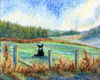 Border Collie dog view of dreams 8x10 print landscape scenic mountains hills fields forest daydreaming from watercolor painting Susan Alison