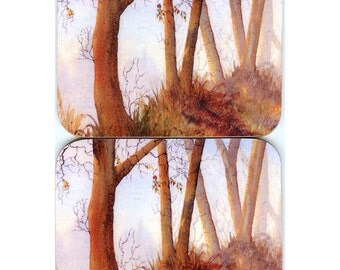 2 x watercolor landscape coasters - Beside the lake