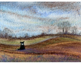Border collie dog landscape 8x10 signed print birds fly south fields view flock countryside taken from Susan Alison watercolor painting