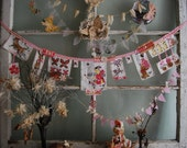 Hush a Bye Bunting - Vintage Baby Pink Mother Goose Nursery Rhyme Story Fabric Bunting