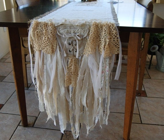 Bella Donna - Vintage Lace and Burlap Table Runner - Reserved Listing for Kenda