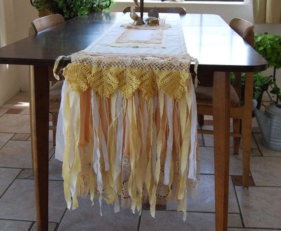 HOLD for Laurie - Harvest Glow - Vintage Cream and Yellow Shabby Country Chic Table Runner - HOLD for Laurie