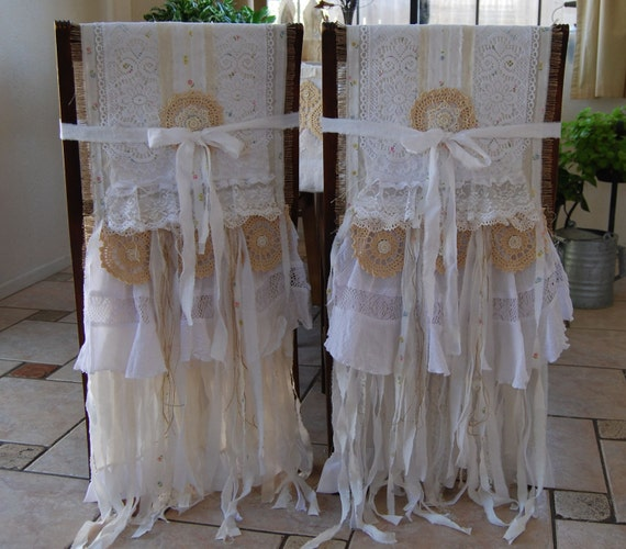 My Whole Heart - Vintage Lace and Burlap Bride and Groom Chair Covers