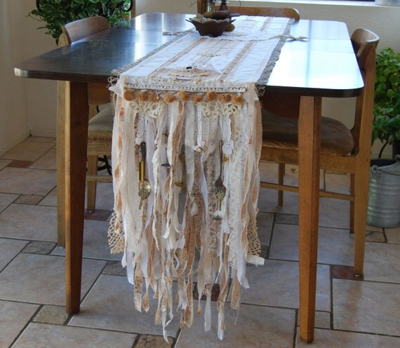 The Ornaments of Your House - Vintage Lace, Trinkets, and Burlap Rustic Country Farmhouse Table Runner OOAK FunkyJunkyArt