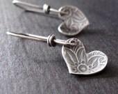 heart earrings - sterling silver sweet heart dangles valentines day